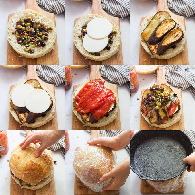 Collage Showing Stages of Layering To Make a Vegan Muffaletta
