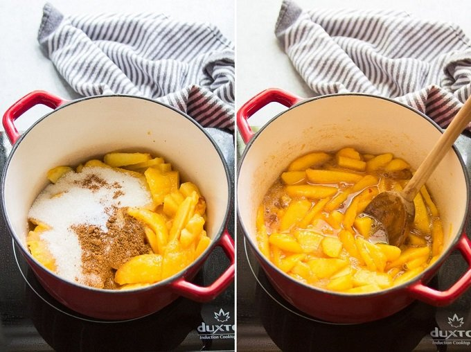 Collage Showing Stages of Cooking Peach Filling for Making Vegan Peach Cobbler