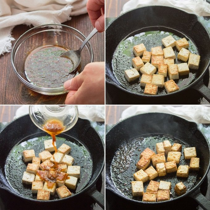 Collage Showing Steps for Making Tofu For Vegan Poke Bowls: Mix Sauce, Pan-Fry Tofu, and Pour Sauce Over Tofu
