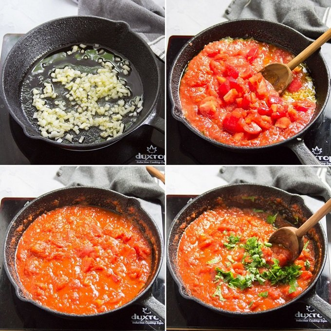 Collage Showing Steps for Making Pomodoro Sauce: Cook Onion and Garlic in Olive Oil, Add Tomatoes, Simmer Tomatoes and Add Basil
