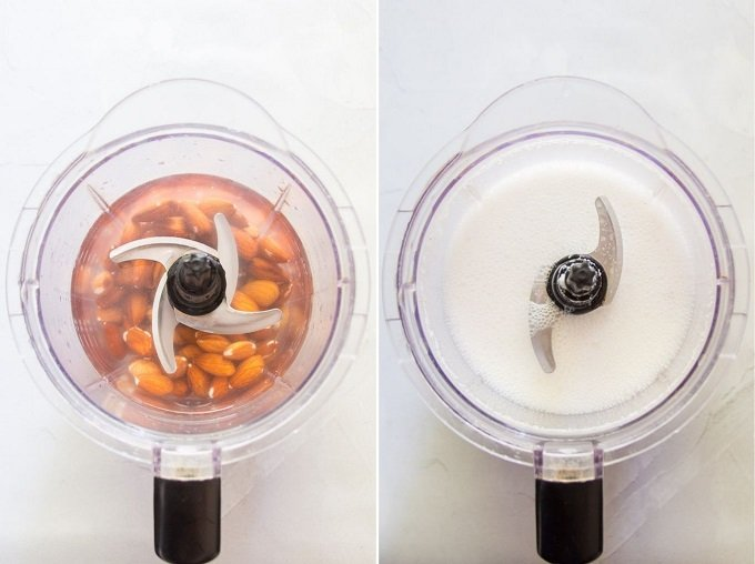 Almonds and Water Before and After Blending for Making How to Make Almond Milk