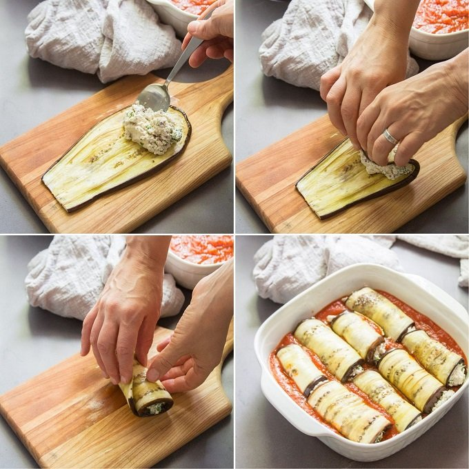 Collage Showing Steps for Assembling Vegan Eggplant Rollatini: Spoon Filling on Eggplant Slice, Roll and Arrange in Baking Dish