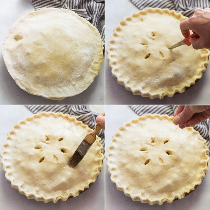 Collage Showing Steps 5-8 of How To Assemble a Vegan Apple Pie: Apply Top Crust, Cut Slits in Crust, Brush with Non-Dairy Milk and Sprinkle with Sugar