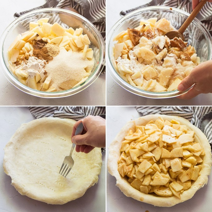 Collage Showing Steps 1-4 of How To Make a Vegan Apple Pie: Add Filling Ingredients to Bowl, Mix, Arrange Bottom Crust in Pie Pan, and Place Filling Inside Crust