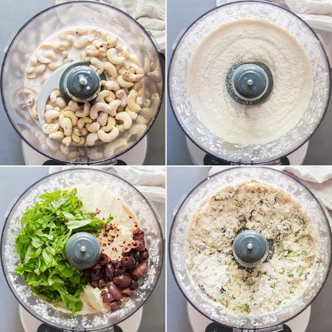 Collage Showing Steps for Making Vegan Eggplant Rollatini Filling: Blend Raw Cashews, Add Tofu, Onion, Garlic, Lemon Juice, Basil and Olives, and Pulse Food Processor Until Chunky