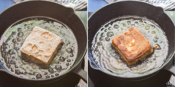 "Collage Showing Two Stages of Frying a Tofu ""Fish"" Fillet"