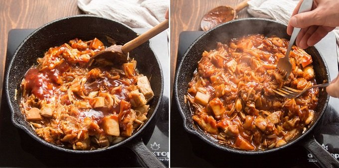 Collage Showing Steps 5-6 for Making Jackfruit Pulled Pork Sandwiches: Add Barbecue Sauce and Pull Jackfruit Apart with Forks