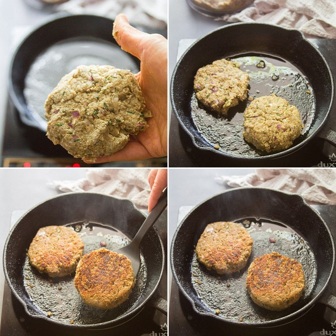 Collage Showing Steps for Making Lentil Burgers: Shape Patties, and Cook Until Browned on Each Side