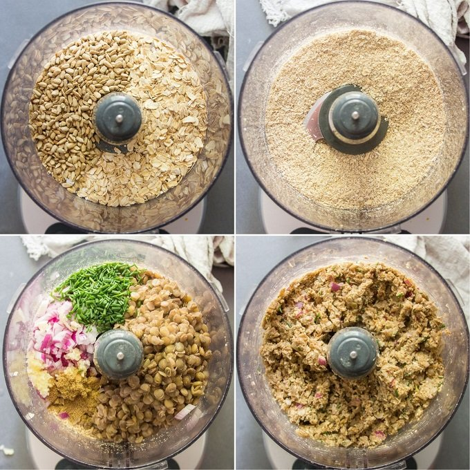 Collage Showing Steps for Mixing Ingredients For Lentil Burgers: Blend Oats and Sunflower Seeds in a Food Processor, Add Lentils and Seasonings, and Pulse Until Blended