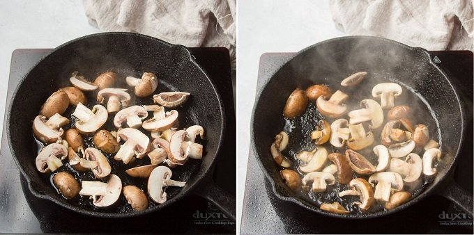 Collage Showing Steps 3 and 4 for Making French Lentil Stew: Saute Mushrooms for 5 Minutes on Each Side