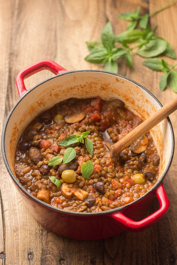 Pot of French Lentil Stew with Wooden Spoon