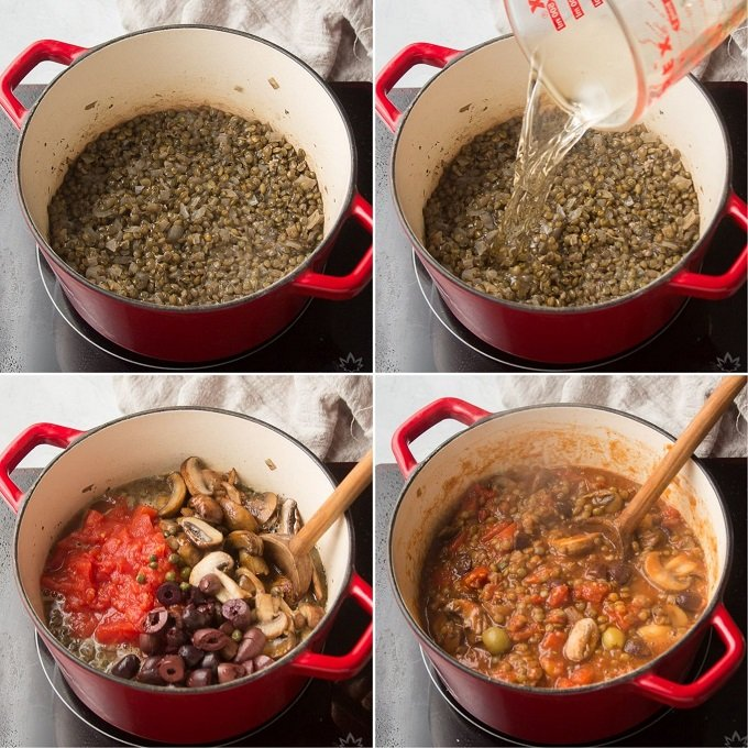 Collage Showing Steps 5-8 For Making French Lentil Stew: Cook Lentils, Add Wine, Add Tomatoes, Olives and Mushrooms, and Simmer