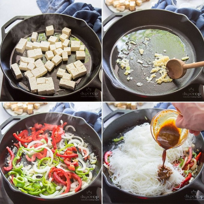 Collage Showing Steps for Making Singapore Noodles: Pan-Fry Tofu, Cook Aromatics in Oil, Stir-Fry Veggies, and Stir-Fry Noodles
