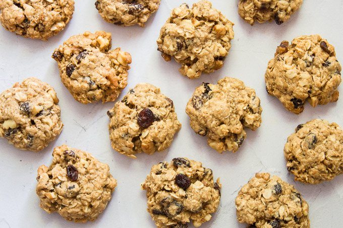 Vegan Oatmeal Raisin Cookies on a White Background