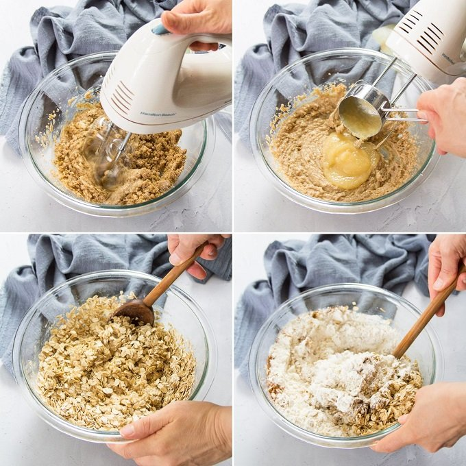 Collage Showing Steps 1-4 of Vegan Oatmeal Raisin Cookies: Beat Sugar and Butter, Add Applesauce, Add Oats, and Add Flour