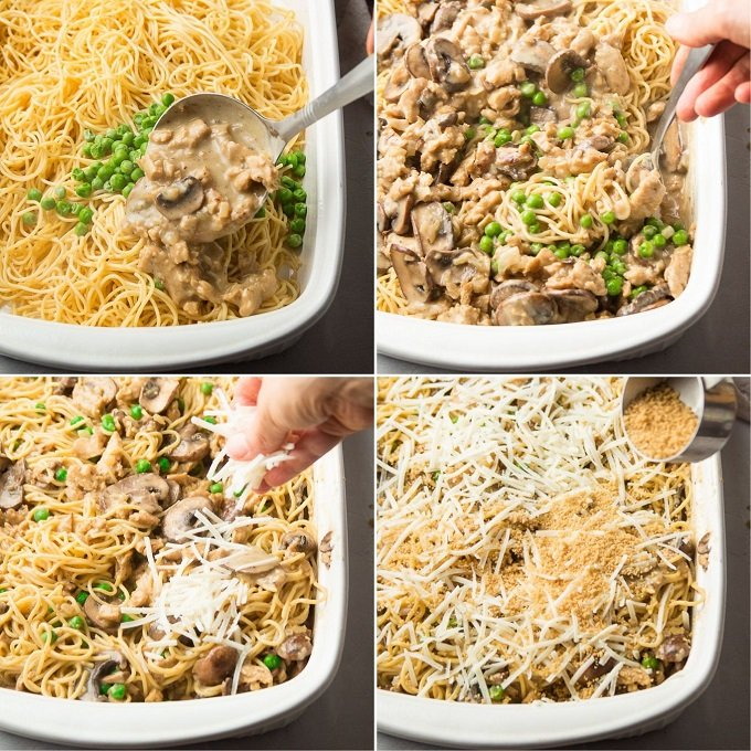 Collage Showing Steps for Assembling Vegan Chicken Tetrazzini: Add Ingredients To Casserole Dish, Mix, Top with Vegan Cheese and Top with Panko Breadcrumbs