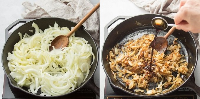 Side By Side Images of Onions at the Beginning and End of Caramelizing