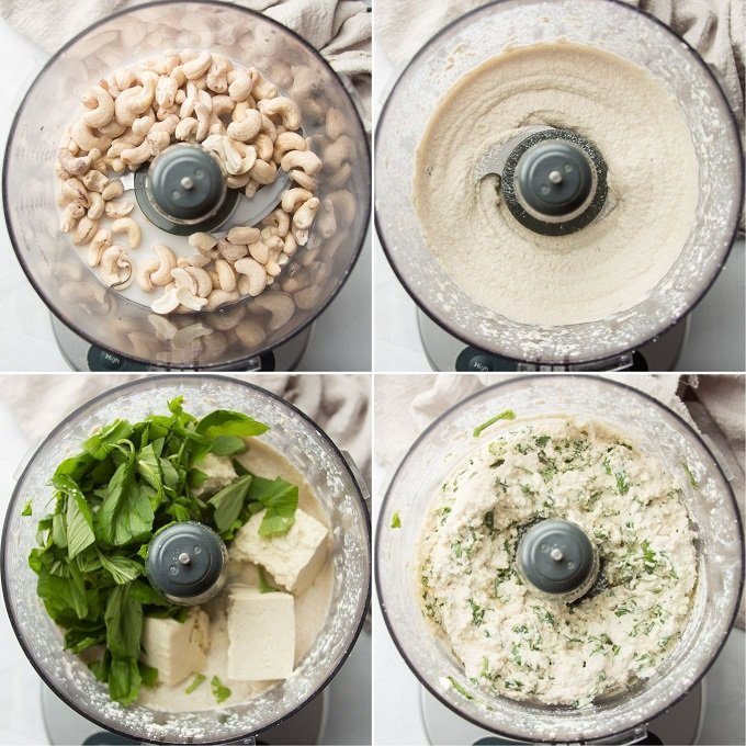 Collage Showing Steps for Making Dairy-Free Ricotta: Place Cashews in Food Processor, Blend, Add Tofu, Basil and Lemon Juice, and Pulse