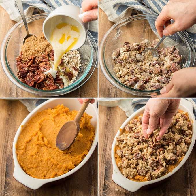 Collage Showing Steps for Assembling Sweet Potato Casserole with Pecans: Mix Topping Ingredients, Arrange Sweet Potato Base in Casserole Dish, and SPrinkle with Topping