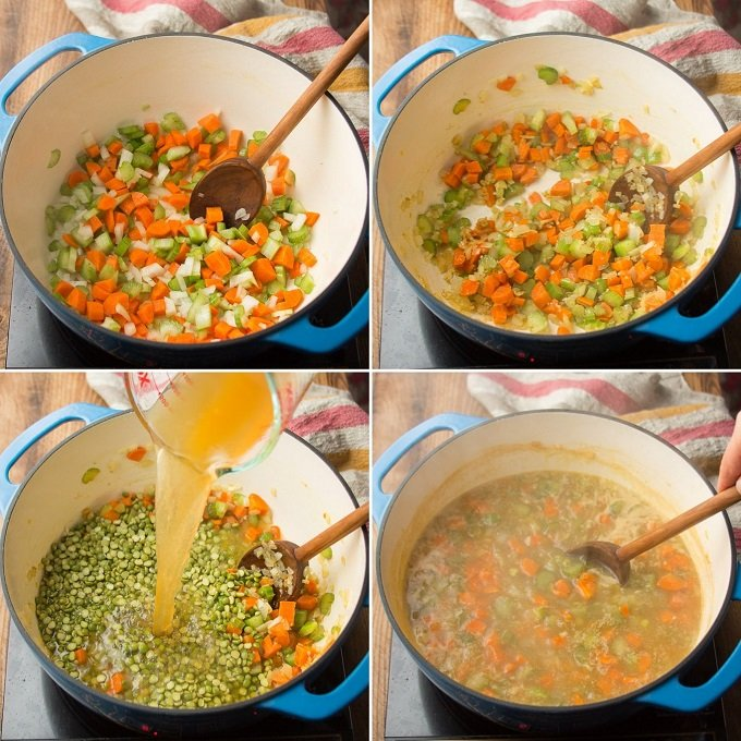 Collage Showing Steps 1-4 of How to Make Vegetarian Split Pea Soup: Sweat Vegetables, Add Spices, Add Broth and Peas, and Bring to a Simmer