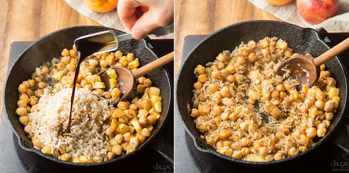 Collage Showing Steps 5 and 6 for Making Stuffed Acorn Squash Filling: Add Rice and Soy Sauce, and Cook Until Heated