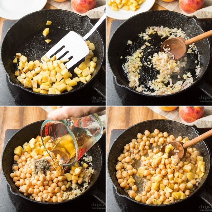 Collage Showing Steps 1-4 of How to Make Acorn Squash Filling: Cook Apples, Cook Shallots, Add Chickpeas and Whiskey, and Simmer