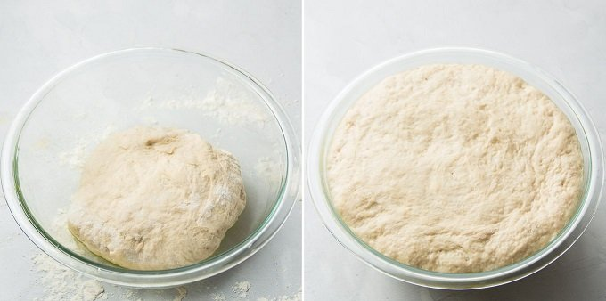 Whole Wheat Pizza Dough in a Glass Bowl Before and After Rising