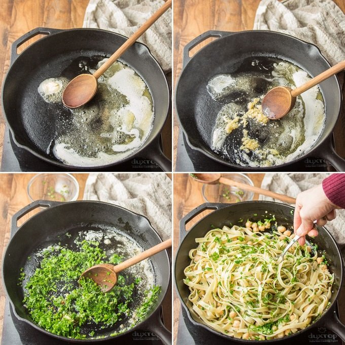 Collage Showing Steps for Making Garlic Butter & Herb Pasta with Chickpeas: Melt Vegan Butter, Cook Garlic in Butter, Add Herbs, and Toss with Pasta and Chickpeas