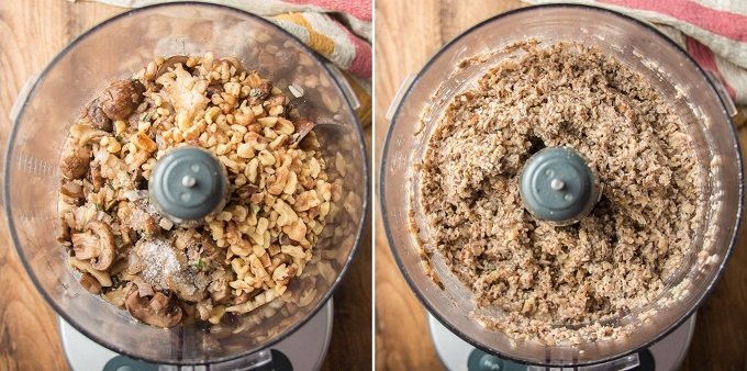 Collage Showing Food Processor Bowl Filled with Ingredients for Mushroom Pâté, Before and After Blending