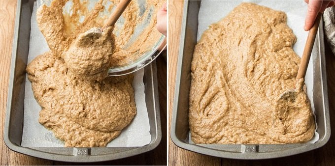 Collage Showing Steps 5-6 for Making Spice Cake: Pour Batter into Pan, and Spread it with a Spoon