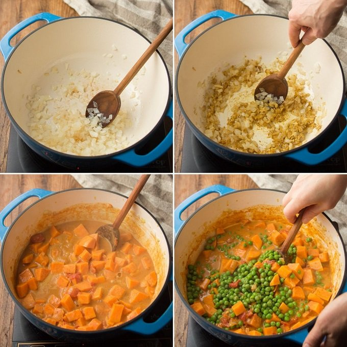 Collage Showing Steps to Make Sweet Potato Curry: Sweat Onion, Add Spices, Simmer with Sweet Potatoes, Tomatoes and Coconut Milk, and Add Peas