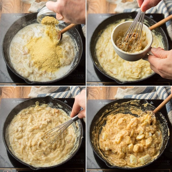 Collage Showing Steps 5-8 for Making Vegan Cheese & Onion Pie: Add Seasonings, Whisk Miso Together with Sauce, Whisk Sauce Together, and Stir in Potato