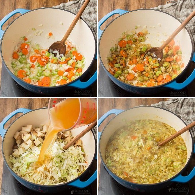 Collage Showing Steps for Making Curry Cabbage Soup: Sweat Veggies, Add Spices, Add Broth, Potatoes and Cabbage, and Simmer