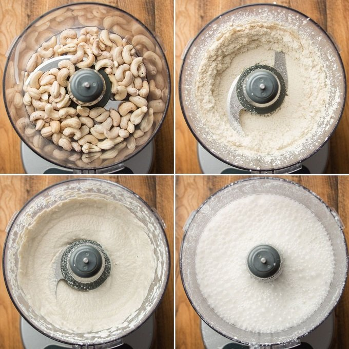 Collage Showing 4 Stages of Blending Cashews for Making Cashew Milk