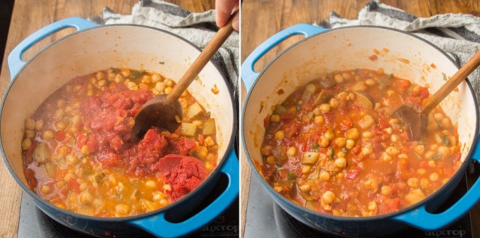 Collage Showing Steps 5 and 6 For Making Smoky Chickpea Stew: Add Tomatoes and Simmer