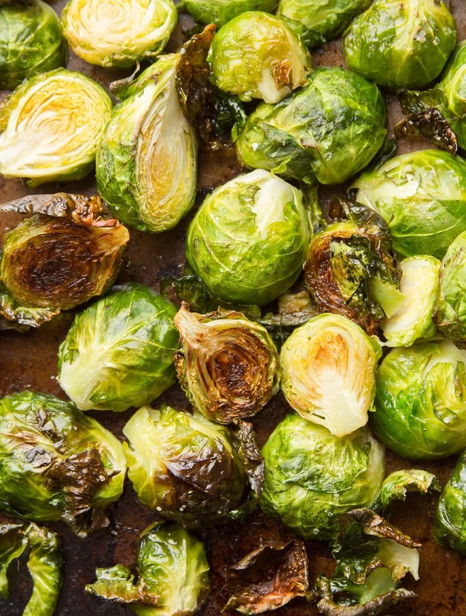 Roasted Brussels Sprouts on a Baking Sheet