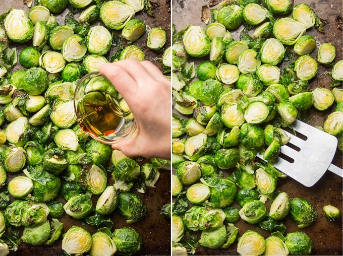 Side By Side Images Showing Brussels Sprouts on a Baking Sheet (1) With Hand Drizzle Maple Syrup and (2) Being Flipped by a Spatula