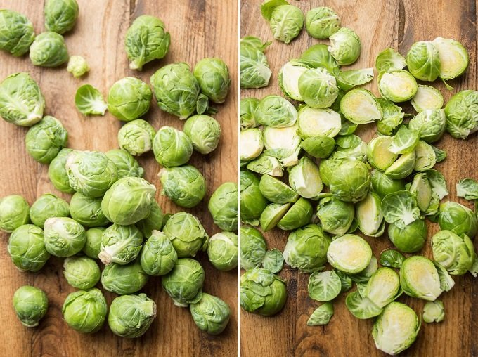 Side By Side Images Showing Brussels Sprouts on a Cutting Board Before and After Being Halved