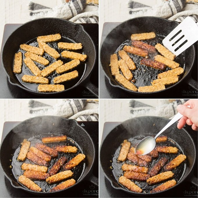 Collage Showing Four Stages of Cooking Tempeh Bacon
