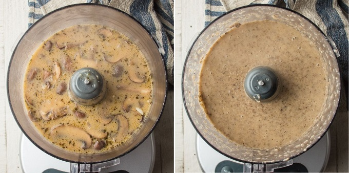 Side By Side Images Showing Vegan Cream of Mushroom Soup in a Food Processor Before and After Blending