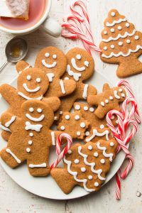 Vegan Gingerbread Cookies on a Plate with Candy Canes