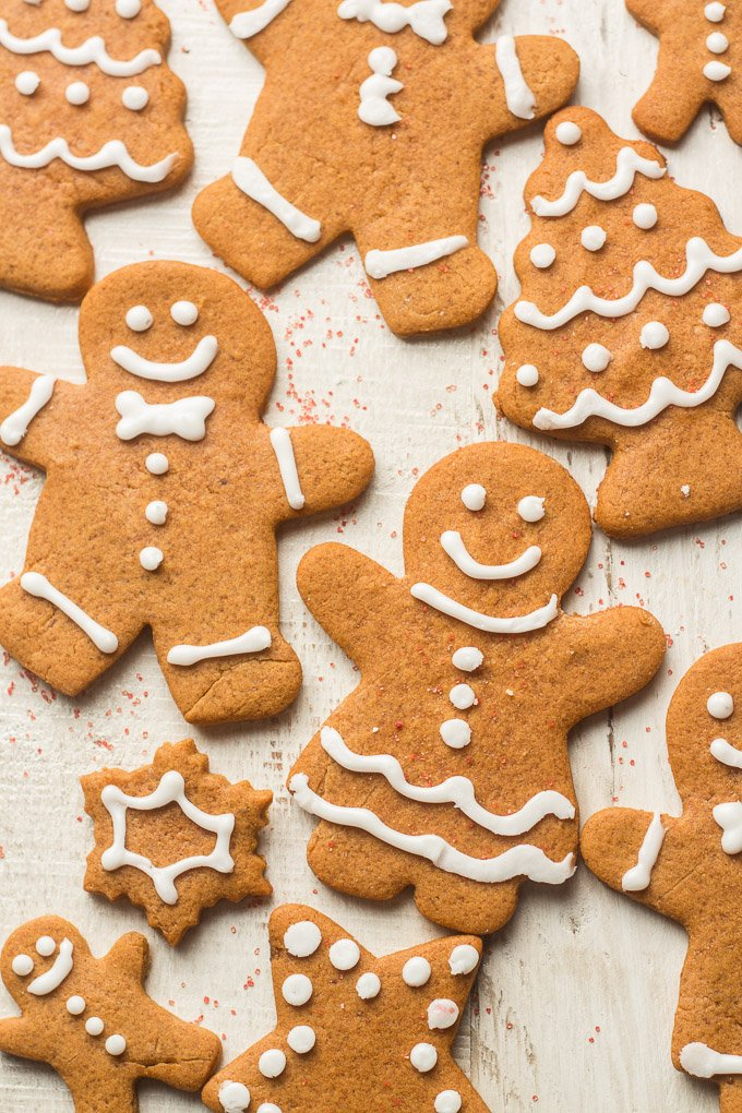 Vegan Gingerbread Cookies on a White Wooden Surface