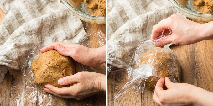 Side By Side Images Showing: Hands Forming a Dough Ball for Vegan Gingerbread Cookies, and Wrapping Dough in Plastic