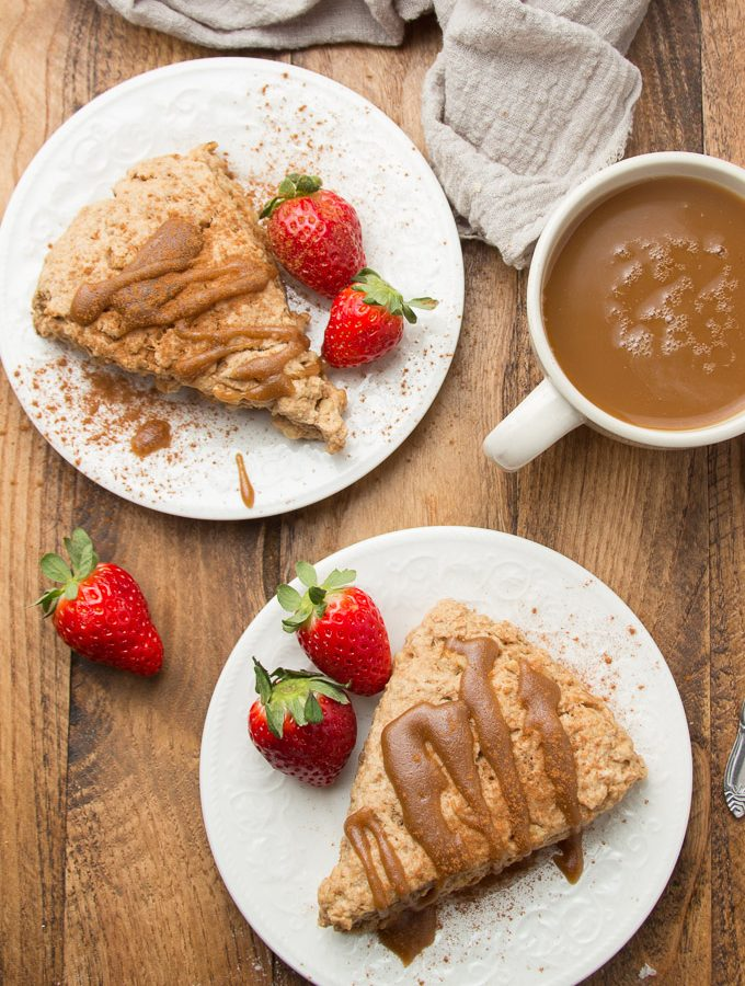 Table Set with Two Plates of Vegan Scones and Strawberries, and Coffee Cup