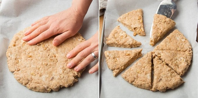 Collage Showing Steps 7 and 8 For Making Vegan Scones: Flatten and Shape Dough, then Cut into Wedges and Separate