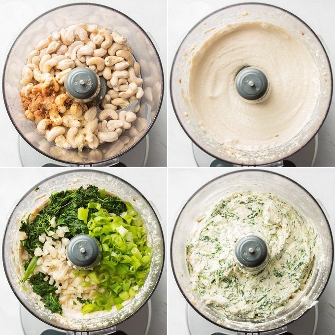 Four Images Showing a Food Processor Bowl Filled with Ingredients for Making Vegan Spinach Dip at Different Stags of Blending