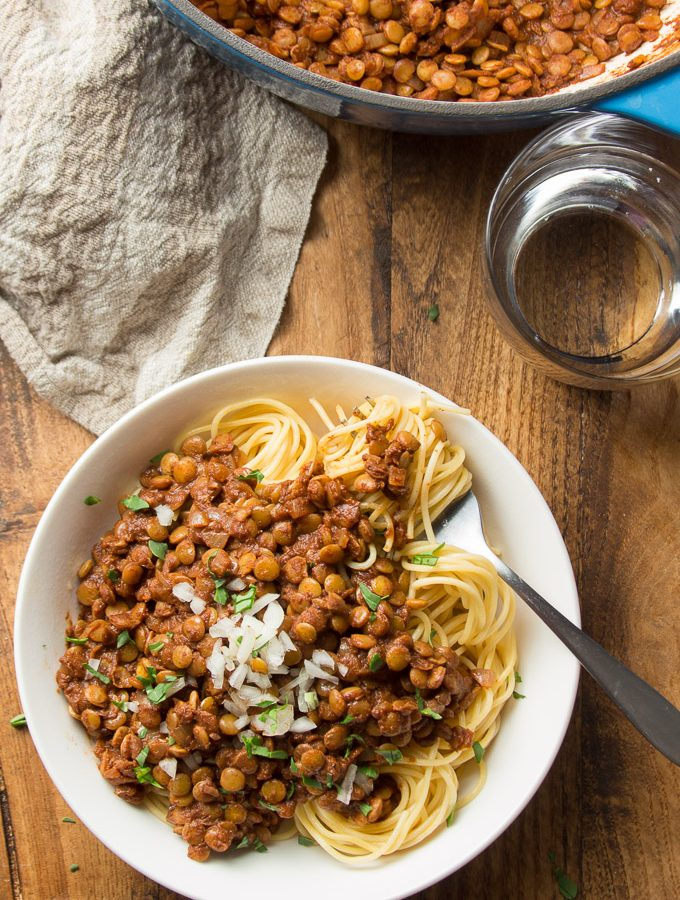 Bowl Vegan Cincinnati Chili with a Cluster of Spaghetti Wrapped Around a Fork