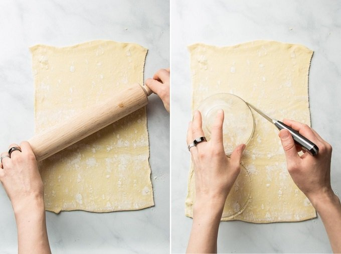 Side By Side Images Showing Hands Rolling and Cutting Puff Pastry for Vegan Empanadas