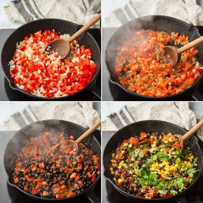 Collage Showing Steps for Making Vegan Empanada Filling