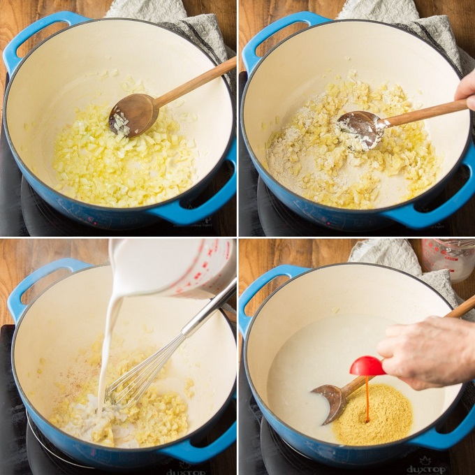 Collage Showing Steps 1-4 for Making Vegan Mac & Cheese Soup: Cook Onion, Add Flour, Add Non-Dairy Milk, and Add Seasonings